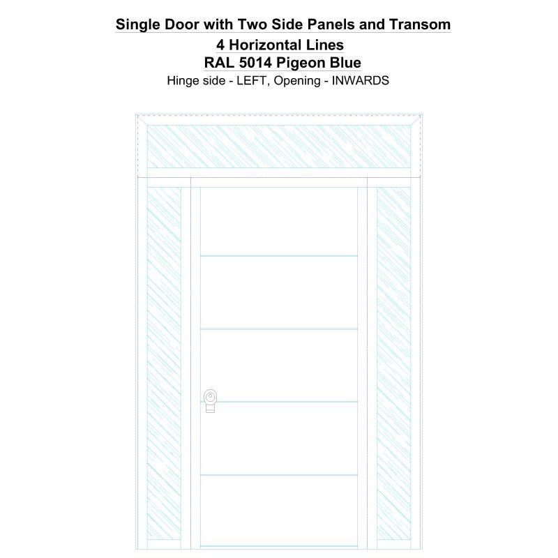 Sd2spt 4 Horizontal Lines Ral 5014 Pigeon Blue Security Door