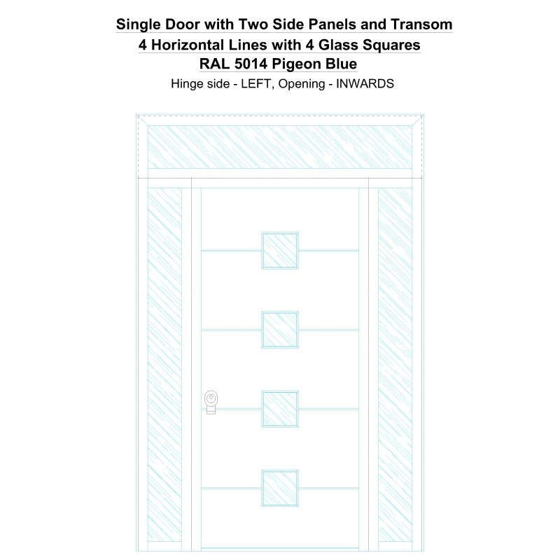 Sd2spt 4 Horizontal Lines With 4 Glass Squares Ral 5014 Pigeon Blue Security Door