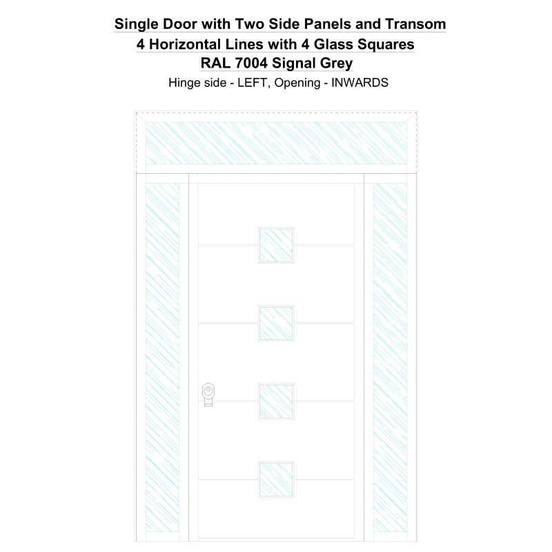Sd2spt 4 Horizontal Lines With 4 Glass Squares Ral 7004 Signal Grey Security Door