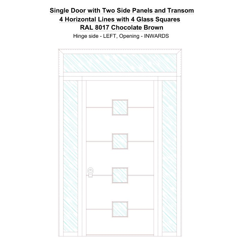 Sd2spt 4 Horizontal Lines With 4 Glass Squares Ral 8017 Chocolate Brown Security Door