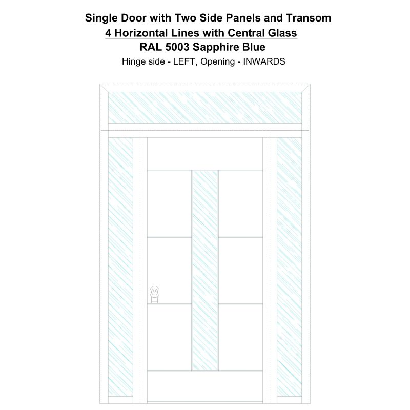 Sd2spt 4 Horizontal Lines With Central Glass Ral 5003 Sapphire Blue Security Door