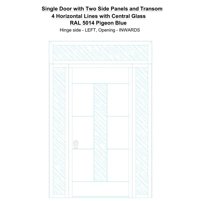 Sd2spt 4 Horizontal Lines With Central Glass Ral 5014 Pigeon Blue Security Door