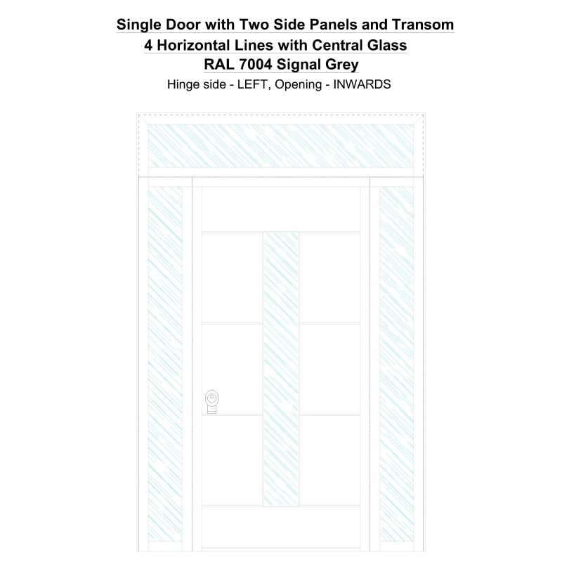 Sd2spt 4 Horizontal Lines With Central Glass Ral 7004 Signal Grey Security Door