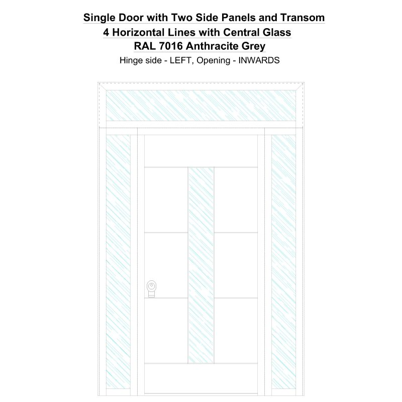 Sd2spt 4 Horizontal Lines With Central Glass Ral 7016 Anthracite Grey Security Door