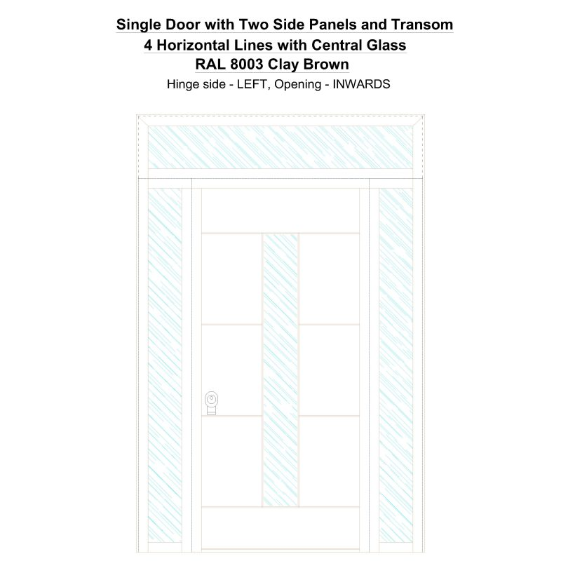 Sd2spt 4 Horizontal Lines With Central Glass Ral 8003 Clay Brown Security Door