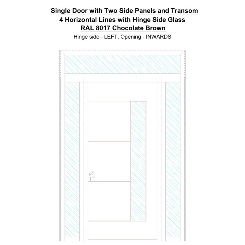 Sd2spt 4 Horizontal Lines With Hinge Side Glass Ral 8017 Chocolate Brown Security Door