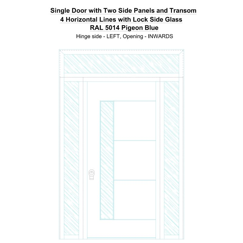 Sd2spt 4 Horizontal Lines With Lock Side Glass Ral 5014 Pigeon Blue Security Door