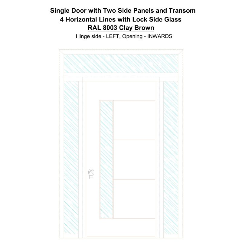 Sd2spt 4 Horizontal Lines With Lock Side Glass Ral 8003 Clay Brown Security Door