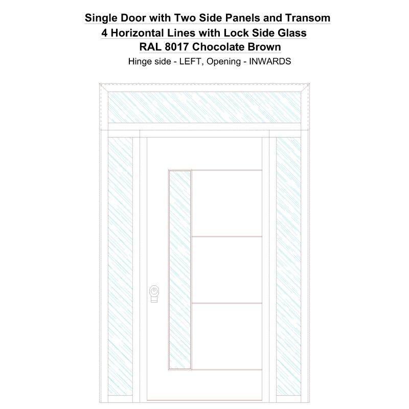 Sd2spt 4 Horizontal Lines With Lock Side Glass Ral 8017 Chocolate Brown Security Door