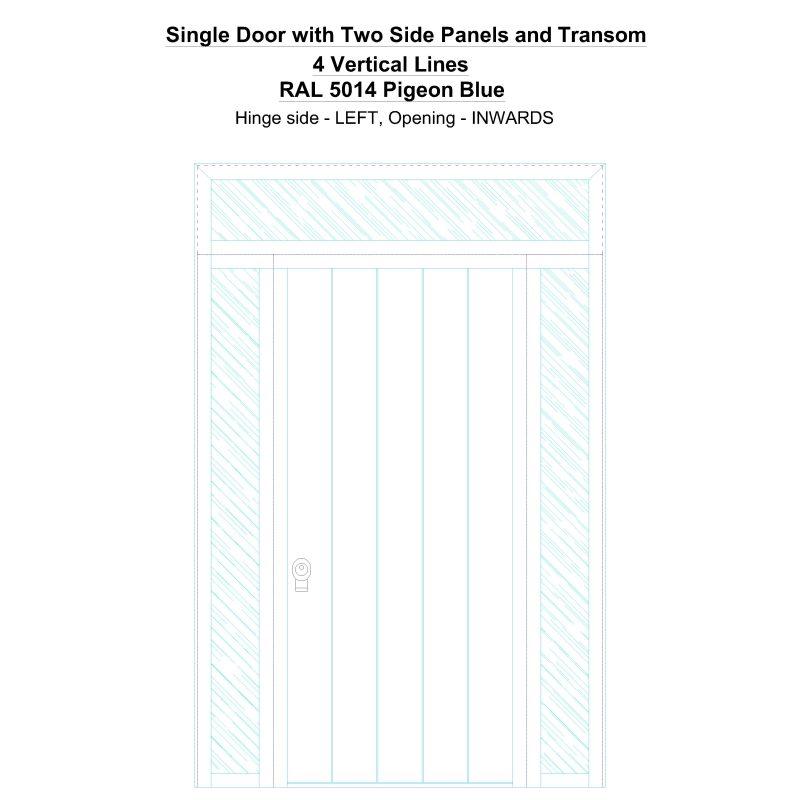 Sd2spt 4 Vertical Lines Ral 5014 Pigeon Blue Security Door
