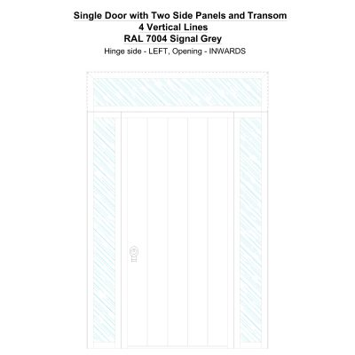 Sd2spt 4 Vertical Lines Ral 7004 Signal Grey Security Door