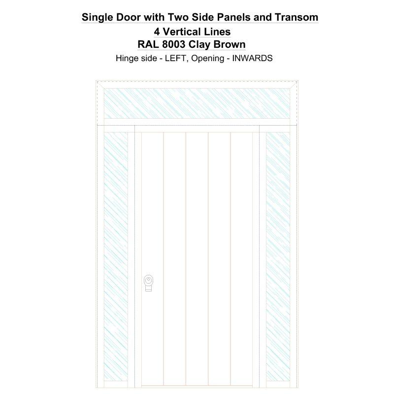 Sd2spt 4 Vertical Lines Ral 8003 Clay Brown Security Door