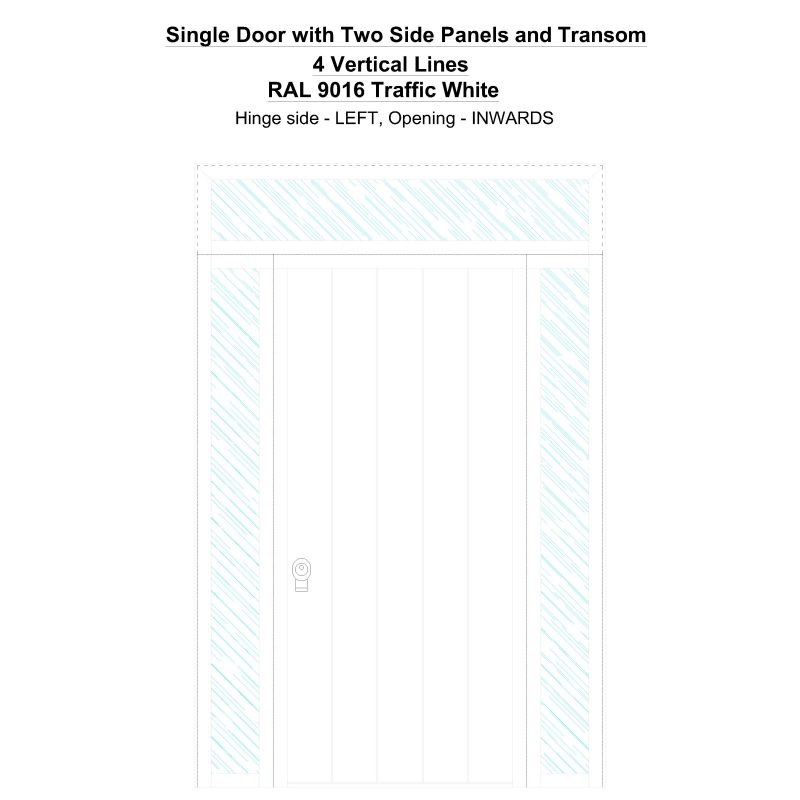 Sd2spt 4 Vertical Lines Ral 9016 Traffic White Security Door