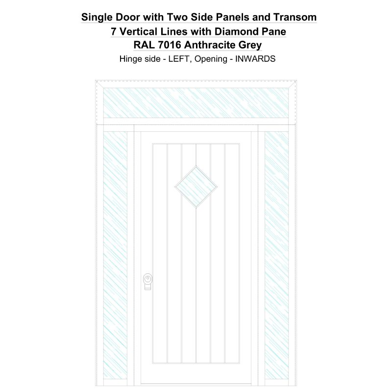 Sd2spt 7 Vertical Lines With Diamond Pane Ral 7016 Anthracite Grey Security Door