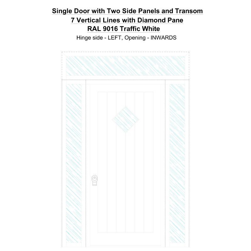 Sd2spt 7 Vertical Lines With Diamond Pane Ral 9016 Traffic White Security Door