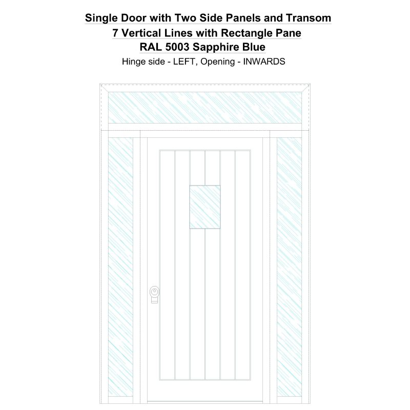 Sd2spt 7 Vertical Lines With Rectangle Pane Ral 5003 Sapphire Blue Security Door