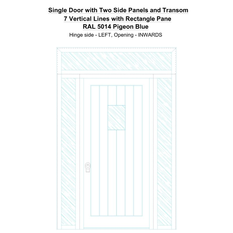 Sd2spt 7 Vertical Lines With Rectangle Pane Ral 5014 Pigeon Blue Security Door