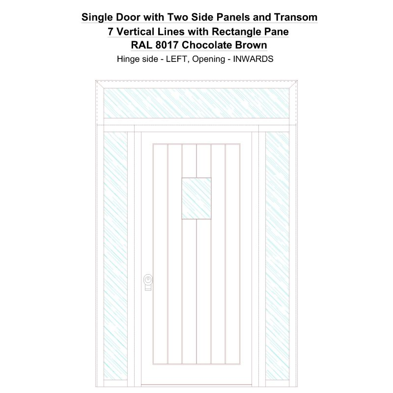 Sd2spt 7 Vertical Lines With Rectangle Pane Ral 8017 Chocolate Brown Security Door