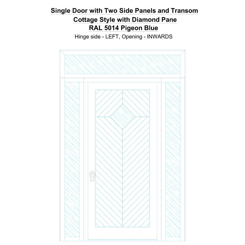 Sd2spt Cottage Style With Diamond Pane Ral 5014 Pigeon Blue Security Door