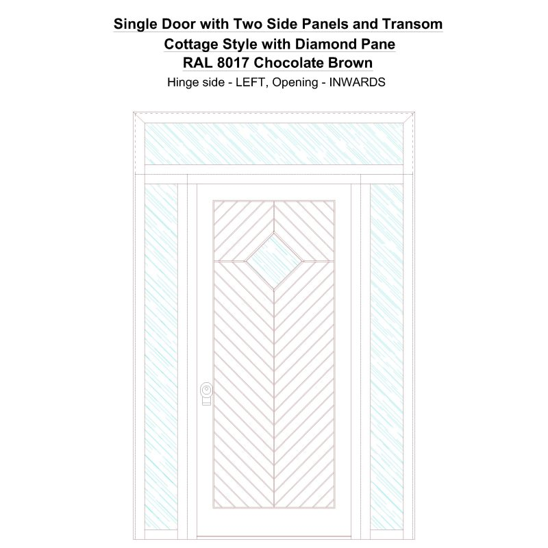 Sd2spt Cottage Style With Diamond Pane Ral 8017 Chocolate Brown Security Door