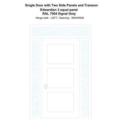 Sd2spt Edwardian 3 Equal Panel Ral 7004 Signal Grey Security Door