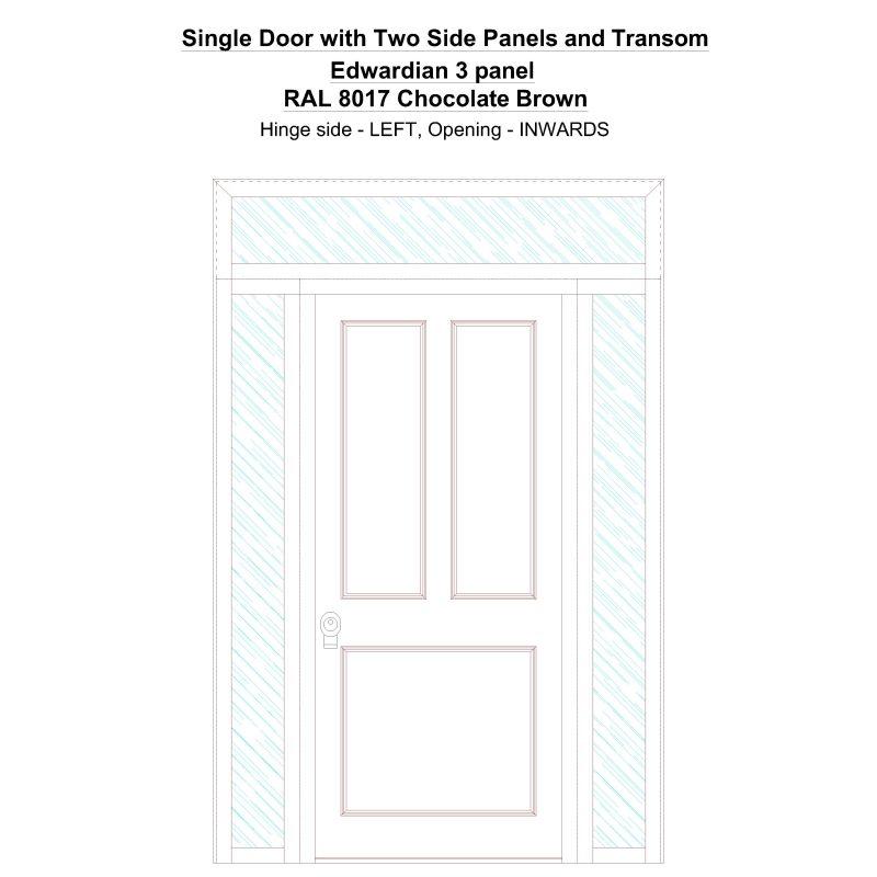 Sd2spt Edwardian 3 Panel Ral 8017 Chocolate Brown Security Door