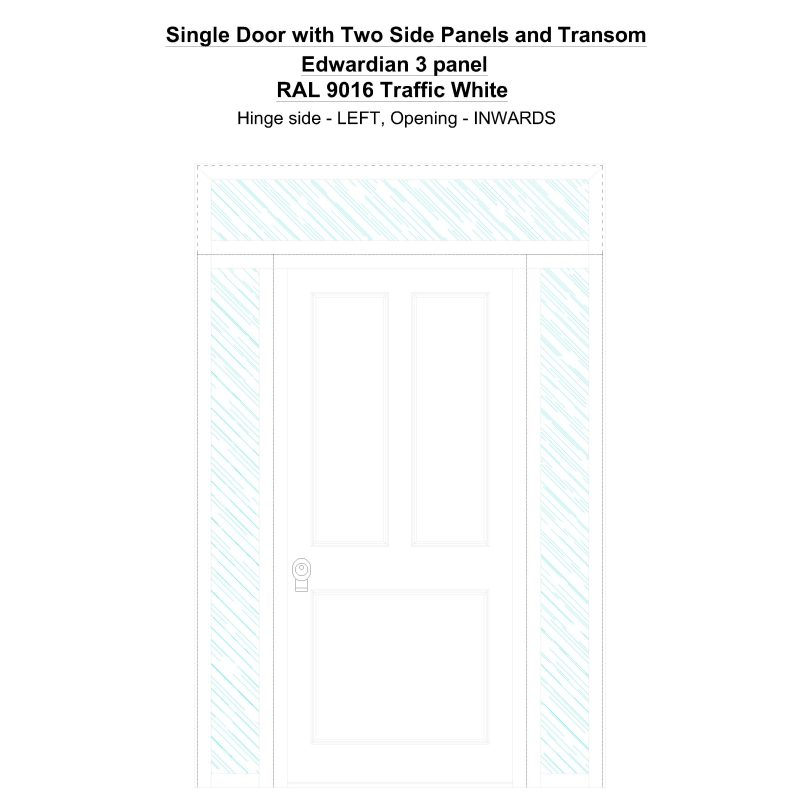 Sd2spt Edwardian 3 Panel Ral 9016 Traffic White Security Door