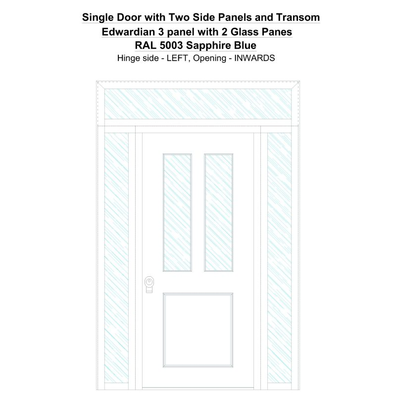 Sd2spt Edwardian 3 Panel With 2 Glass Panes Ral 5003 Sapphire Blue Security Door