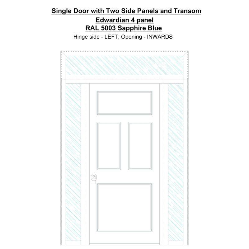Sd2spt Edwardian 4 Panel Ral 5003 Sapphire Blue Security Door