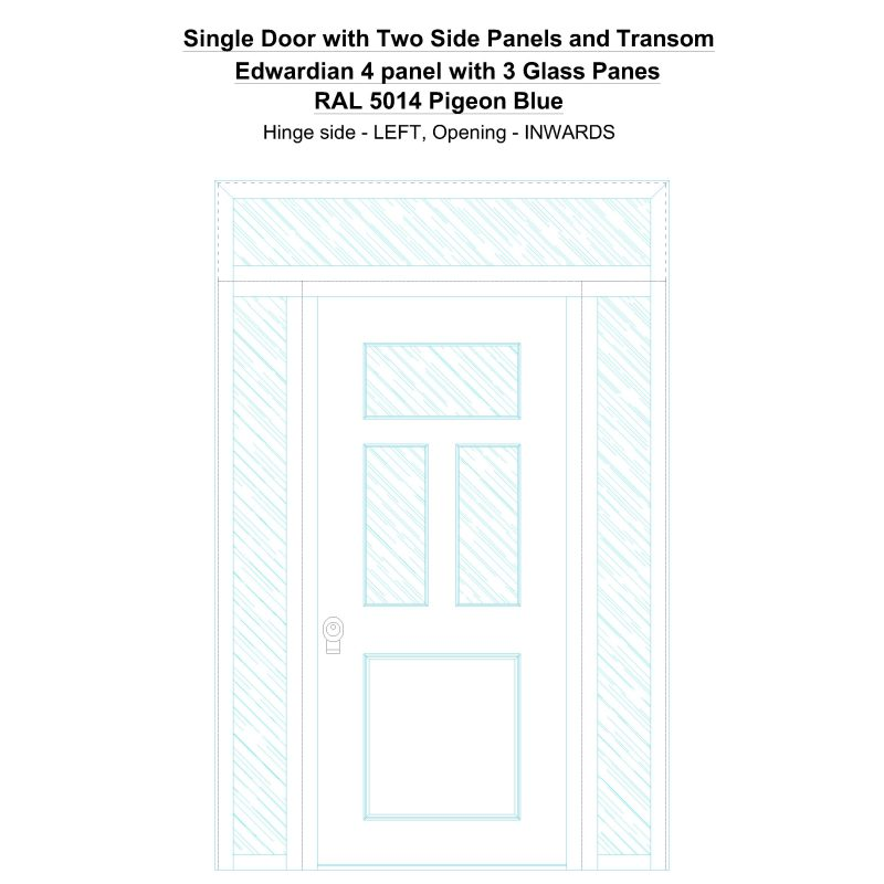 Sd2spt Edwardian 4 Panel With 3 Glass Panes Ral 5014 Pigeon Blue Security Door