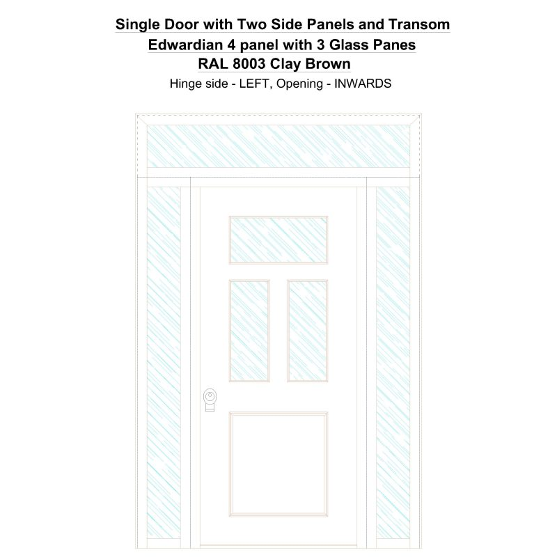 Sd2spt Edwardian 4 Panel With 3 Glass Panes Ral 8003 Clay Brown Security Door