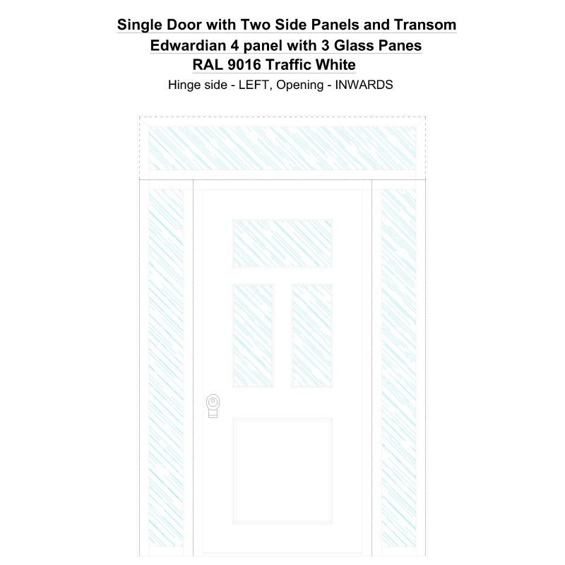 Sd2spt Edwardian 4 Panel With 3 Glass Panes Ral 9016 Traffic White Security Door