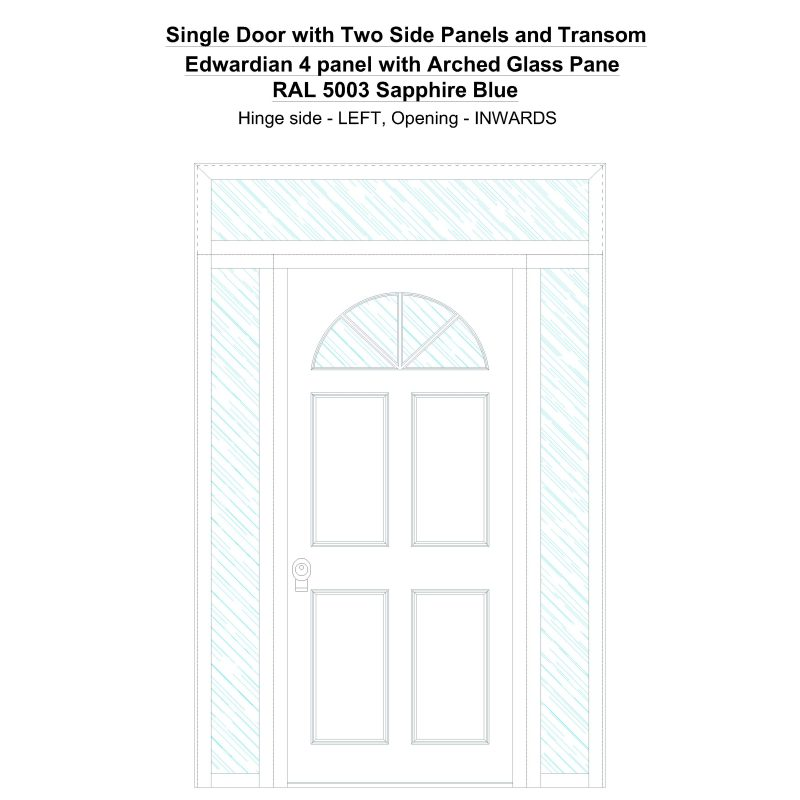 Sd2spt Edwardian 4 Panel With Arched Glass Pane Ral 5003 Sapphire Blue Security Door