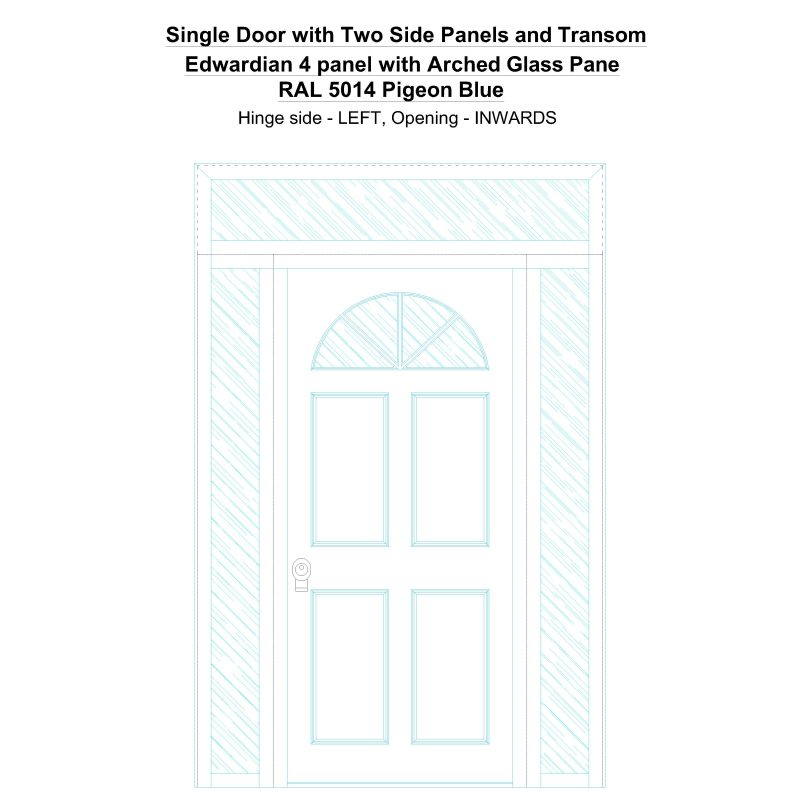 Sd2spt Edwardian 4 Panel With Arched Glass Pane Ral 5014 Pigeon Blue Security Door