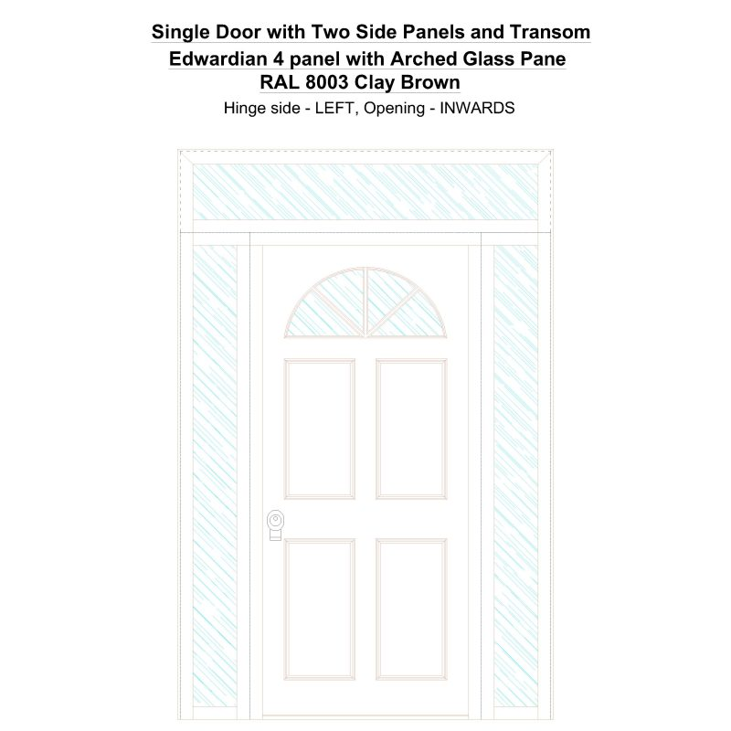 Sd2spt Edwardian 4 Panel With Arched Glass Pane Ral 8003 Clay Brown Security Door