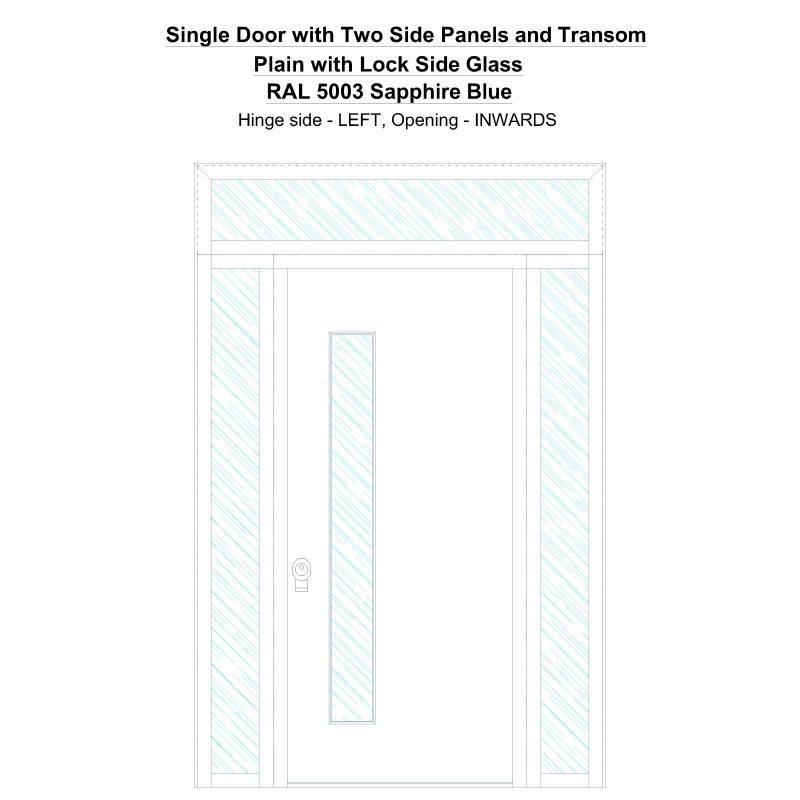 Sd2spt Plain Ral 5003 Sapphire Blue Security Door