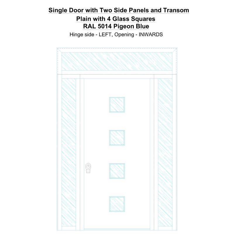 Sd2spt Plain With 4 Glass Squares Ral 5014 Pigeon Blue Security Door