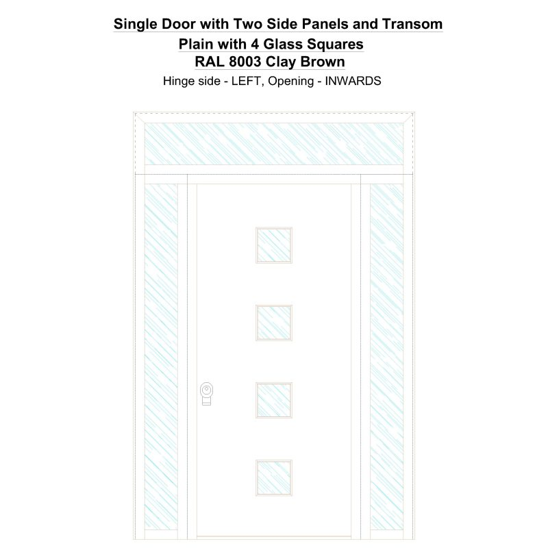 Sd2spt Plain With 4 Glass Squares Ral 8003 Clay Brown Security Door