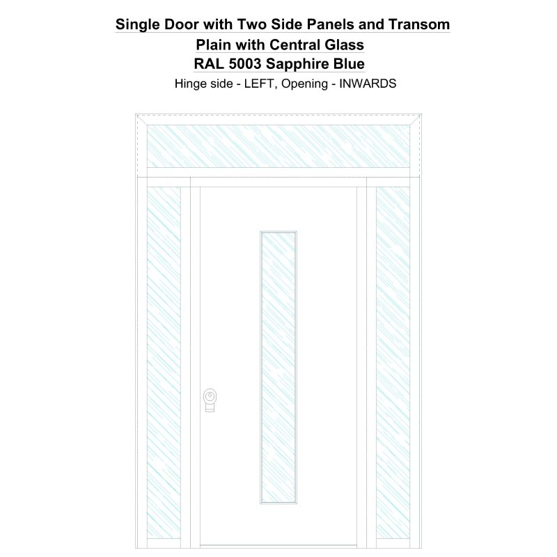 Sd2spt Plain With Central Glass Ral 5003 Sapphire Blue Security Door