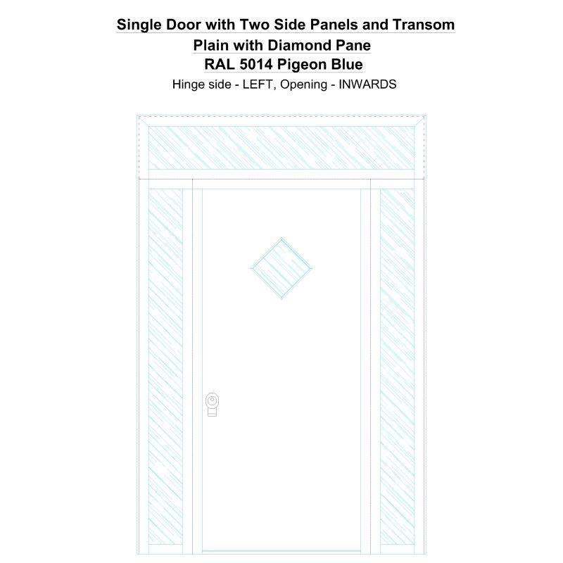 Sd2spt Plain With Diamond Pane Ral 5014 Pigeon Blue Security Door