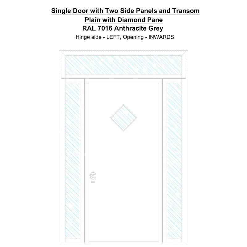 Sd2spt Plain With Diamond Pane Ral 7016 Anthracite Grey Security Door