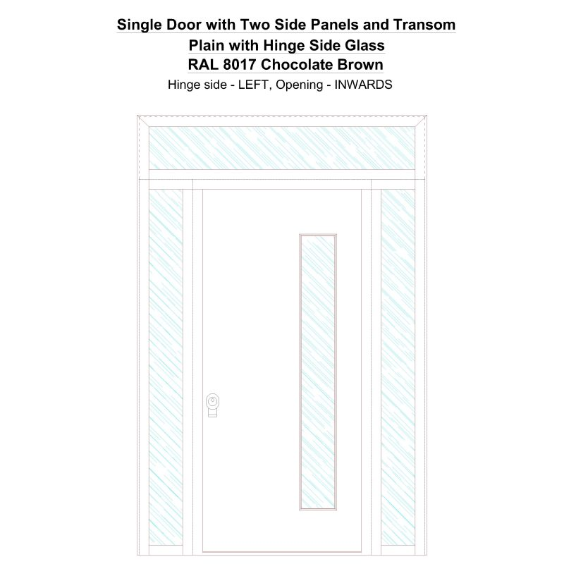 Sd2spt Plain With Hinge Side Glass Ral 8017 Chocolate Brown Security Door