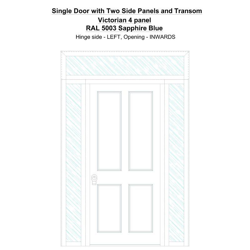 Sd2spt Victorian 4 Panel Ral 5003 Sapphire Blue Security Door