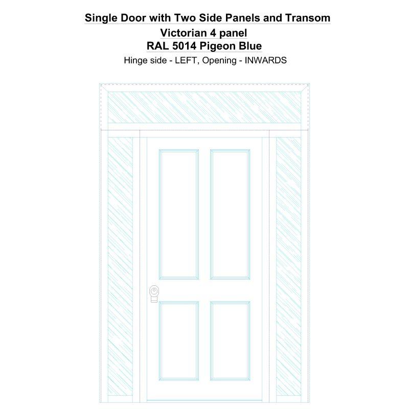 Sd2spt Victorian 4 Panel Ral 5014 Pigeon Blue Security Door
