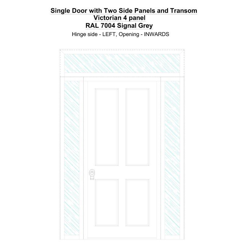 Sd2spt Victorian 4 Panel Ral 7004 Signal Grey Security Door