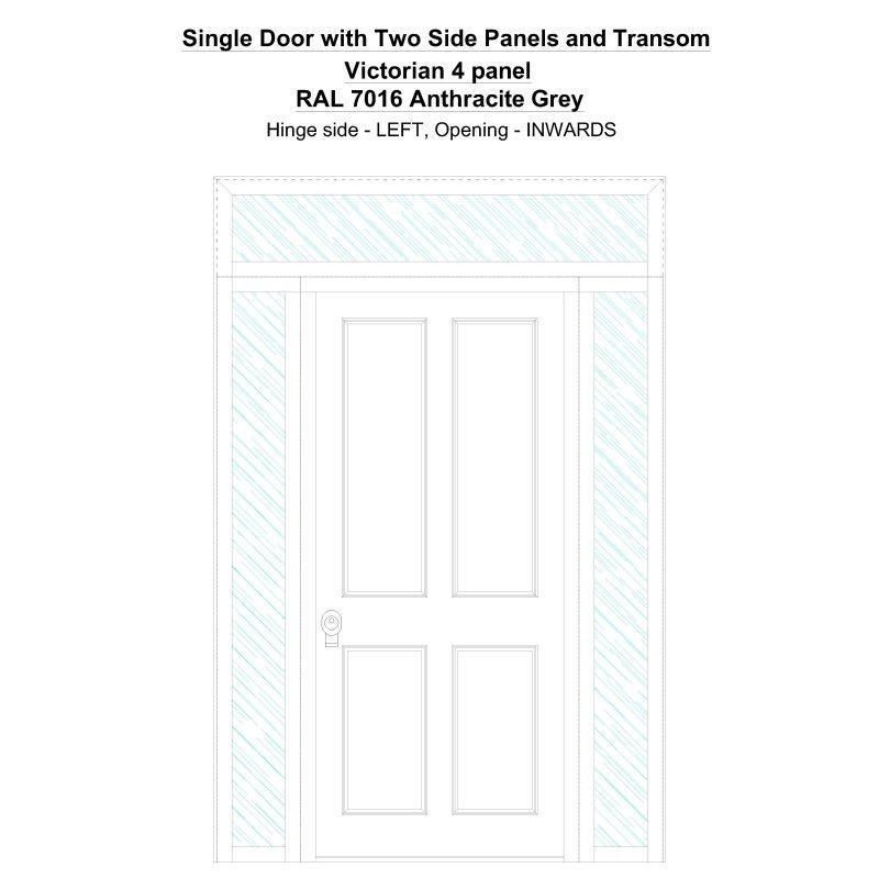 Sd2spt Victorian 4 Panel Ral 7016 Anthracite Grey Security Door