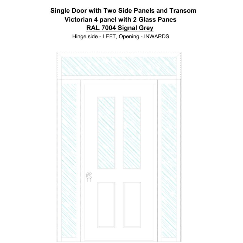 Sd2spt Victorian 4 Panel With 2 Glass Panes Ral 7004 Signal Grey Security Door