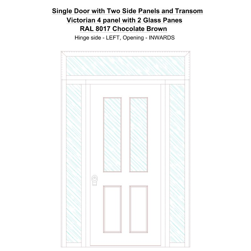Sd2spt Victorian 4 Panel With 2 Glass Panes Ral 8017 Chocolate Brown Security Door