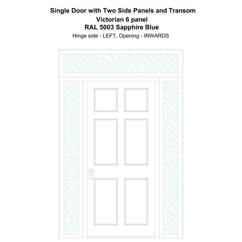 Sd2spt Victorian 6 Panel Ral 5003 Sapphire Blue Security Door