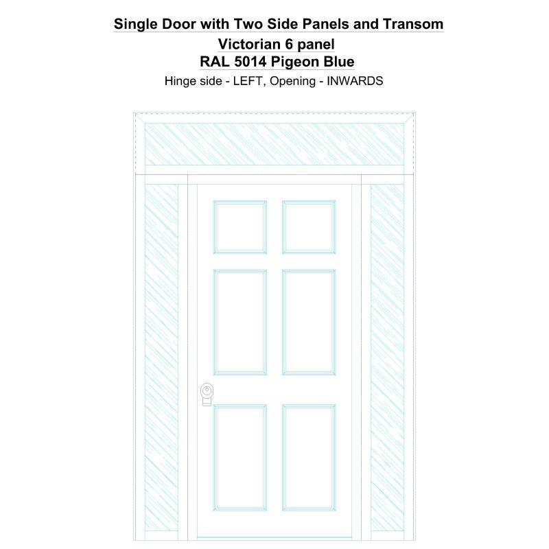 Sd2spt Victorian 6 Panel Ral 5014 Pigeon Blue Security Door